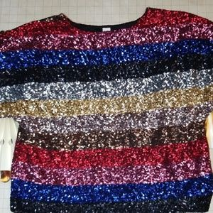 Rainbow Sequin Glitter Top Size S/M